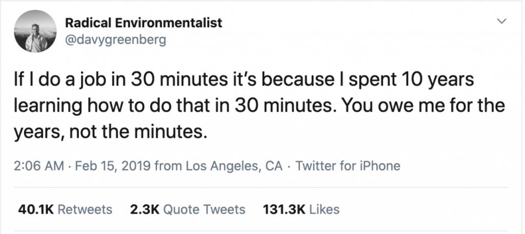 Davy Greenberg's 2019 viral tweet